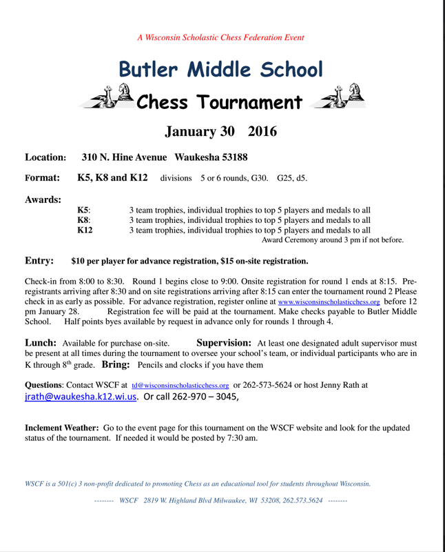First annual butler middle school chess tournament this weekend player at home or know any kids who play chess please invite them too this tournament is open to all students they do not need to be sdw students stopboris Image collections